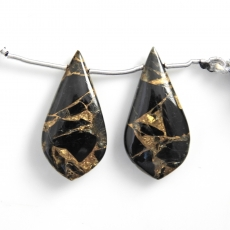 Copper Black Obsidian Drops Leaf Shape 33x17mm Drilled Beads Matching Pair
