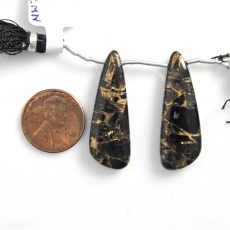 Copper Black Obsidian Drops Wing Shape 35x12mm Drilled Beads Matching Pair