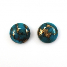 COPPER BLUE TURQUOISE  ROUND 11MM APPROXIMATELY 9 CARAT Matching Pair
