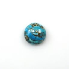 COPPER BLUE TURQUOISE  ROUND 12MM APPROXIMATELY 5 CARAT LOOSE SINGLE PAIR