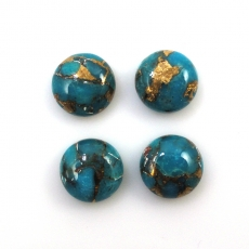 COPPER BLUE TURQUOISE 10 CARAT ROUND 9MM