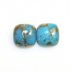Copper Blue Turquoise Cabs Cushion 10mm Approximately 9 Carat Matching Pair