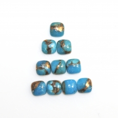 Copper Blue Turquoise CabS Cushion 6mm Approximately 9 Carat