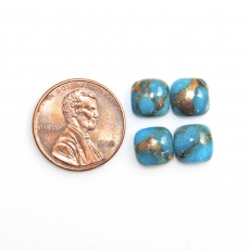 Copper Blue Turquoise Cabs Cushion 8mm Approximately 9 Carat