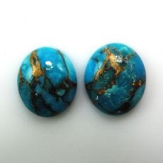 COPPER BLUE TURQUOISE CABS OVAL 12X10MM MATCHED PAIR APPROX  8 CARAT Matching Pair