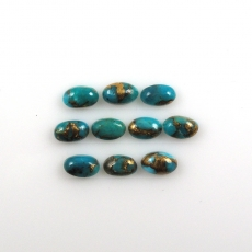 Copper Blue Turquoise Cabs Oval 5x3mm Approximately 2.18 Carat