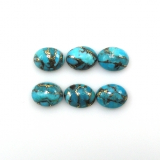 COPPER BLUE TURQUOISE CABS OVAL 9X7MM APPROX  9 CARAT