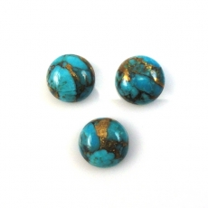 COPPER BLUE TURQUOISE CABS ROUND 10MM APPROXIMATELY 9 CARAT