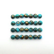 Copper Blue Turquoise Cabs Round 3mm Approximately 3 Carat