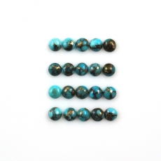 COPPER BLUE TURQUOISE CABS ROUND 4MM APPROX  4 CARAT