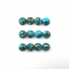 Copper Blue Turquoise Cabs Round 6mm Approximately 9 Carat