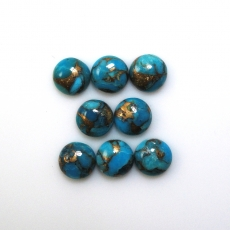 COPPER BLUE TURQUOISE CABS ROUND 7MM APPROX   9 CARAT