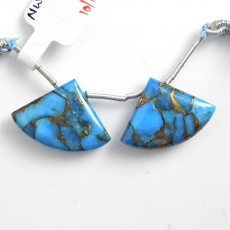 Copper Blue Turquoise Drops Fan Shape 24x17mm Drilled Beads Matching Pair