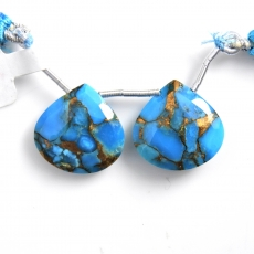 Copper Blue Turquoise Drops Heart Shape 18x18mm Drilled Beads Matching Pair