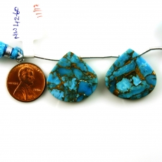Copper blue Turquoise Drops Heart Shape 24x24mm Drilled Beads Matching Pair