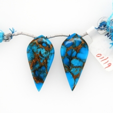 Copper Blue Turquoise Drops Leaf Shape 30x15mm Drilled Bead Matching Pair