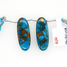 Copper Blue Turquoise Drops Oval Shape 31x12mm Drilled Bead Matching Pair