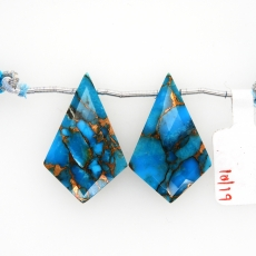 Copper Blue Turquoise Drops Shield Shape 30x20mm Drilled Bead Matching Pair