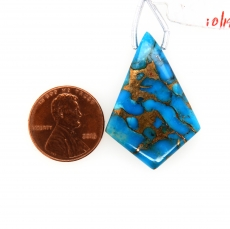 Copper Blue Turquoise Drops Shield Shape 35x23mm Drilled Bead Single Piece