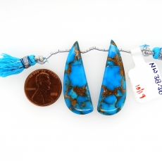 Copper Blue Turquoise Drops Wing Shape 36x13mm Drilled Bead Matching Pair