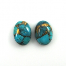 COPPER BLUE TURQUOISE OVAL 14X10MM MATCHED PAIR APPROX 10 CARAT MATCHING PAIR