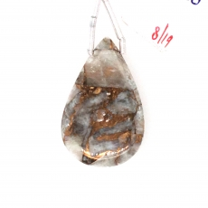Copper Calcite Drop Almond Shape 31x20mm Drilled Beads Single Piece