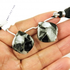 Copper Grey Obsidian Drops Leaf Shape 22x20mm Drilled Beads Matching Pair