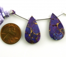 Copper Purple Turquoise Drops Almond Shape 22x12mm Drilled Beads Matching Pair