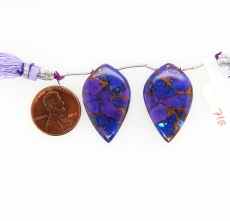 Copper Purple Turquoise Drops Leaf Shape 30x18mm Drilled Beads Matching Pair