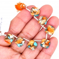 Copper Spiny Oyster With Turquoise Cushion Shape 10mm Drilled Beads7Pieces Line