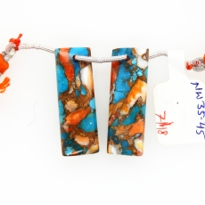 Copper Spiny Oyster With Turquoise Drops Baguette Shape 30x10mm Front To Back Drilled Beads Matching Pair