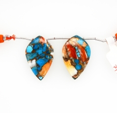 Copper Spiny Oyster With Turquoise Drops Leaf Shape 30x20mm Drilled Beads Matching Pair