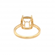 Cushion 10x8mm Ring Semi Mount in 14K Yellow Gold With White Diamond (RG1220)