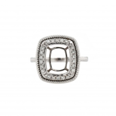 Cushion 11x9.5mm Ring Semi Mount in 14K White Gold With White Diamond (RSCL019)