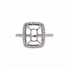 Cushion 11x9mm Ring Semi Mount in 14K White Gold With White Diamond (RSHCL017)