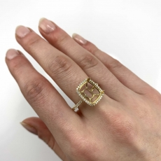 Cushion 11x9mm Ring Semi Mount in 14K Yellow Gold With White Diamond (RG1245)
