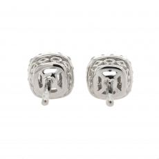 Cushion 3.4mm Halo Earring Semi Mount in 14K White Gold With White Diamonds