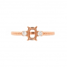 Cushion 6x4mm Ring Semi Mount in 14K Rose Gold With White Diamond (RSCL055)