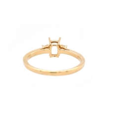 Cushion 6x4mm Ring Semi Mount in 14K Yellow Gold With White Diamond (RSCL055)