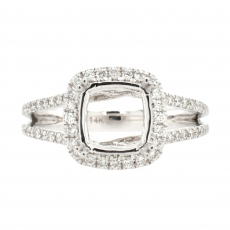 Cushion 7.5mm Ring Semi Mount In 14K White Gold With White Diamonds
