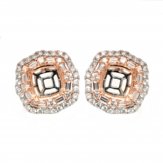 Cushion 7mm Earring Semi Mount in 14K Dual Tone (Rose/White) Gold With White Diamonds