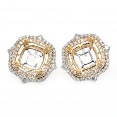 Cushion 7mm Earring Semi Mount in 14K Dual Tone (White/Yellow) Gold With White Diamonds