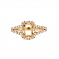 Cushion 7x5mm Ring Semi Mount in 14K Yellow Gold With White Diamond (RG1197)