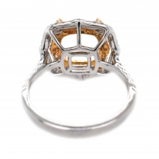 Cushion 8mm Ring Semi Mount in 14K Dual Tone (White / Yellow) Gold with White Diamond