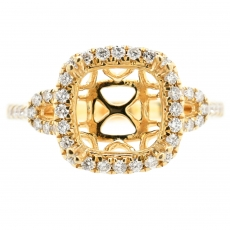 Cushion 8mm Ring Semi Mount in 14K Yellow Gold with White Diamonds