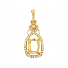 Cushion 8x6mm Pendant Semi Mount in 14K Yellow Gold with White Diamonds