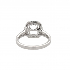 Cushion 8x6mm Ring Semi Mount in 14K White Gold With White Diamond (RSCL863)