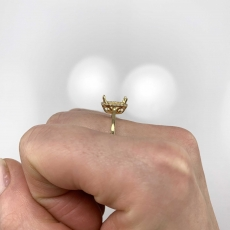 Cushion 8x6mm Ring Semi Mount in 14K Yellow Gold With White Diamond (RSHCL011)