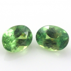 Demantoid Garnet Oval 6.5x5 Matching Pair