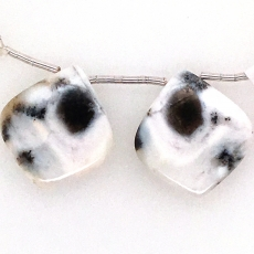 Dendrite Opal Drops Leaf Shape 26x24mm Drilled Beads Matching Pair